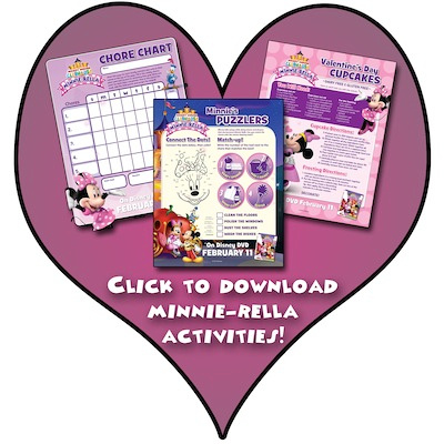 Minnie-rella inspired activity sheets just in time for Valentine's day!