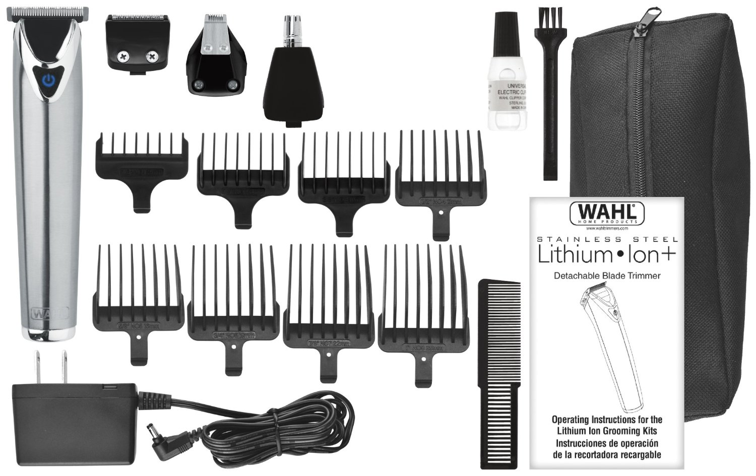 wahl stainless steel lithium ion mustache trimmer night helper. Black Bedroom Furniture Sets. Home Design Ideas