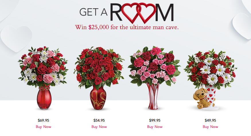 "Love Blooms with Teleflora's ""Get a Room"" Valentine's Day Sweepstakes! #UltimateManCave"
