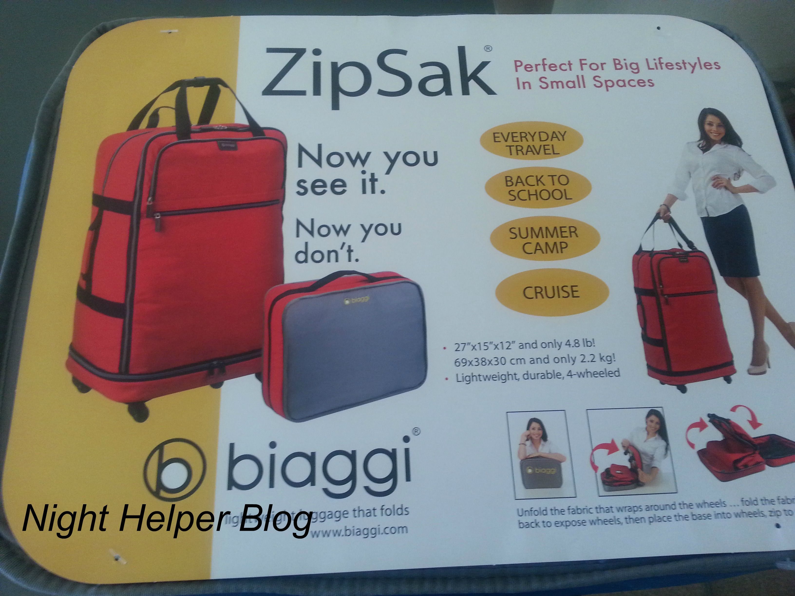 Biaggi ZipSak, the perfect traveling luggage!!! - Night Helper