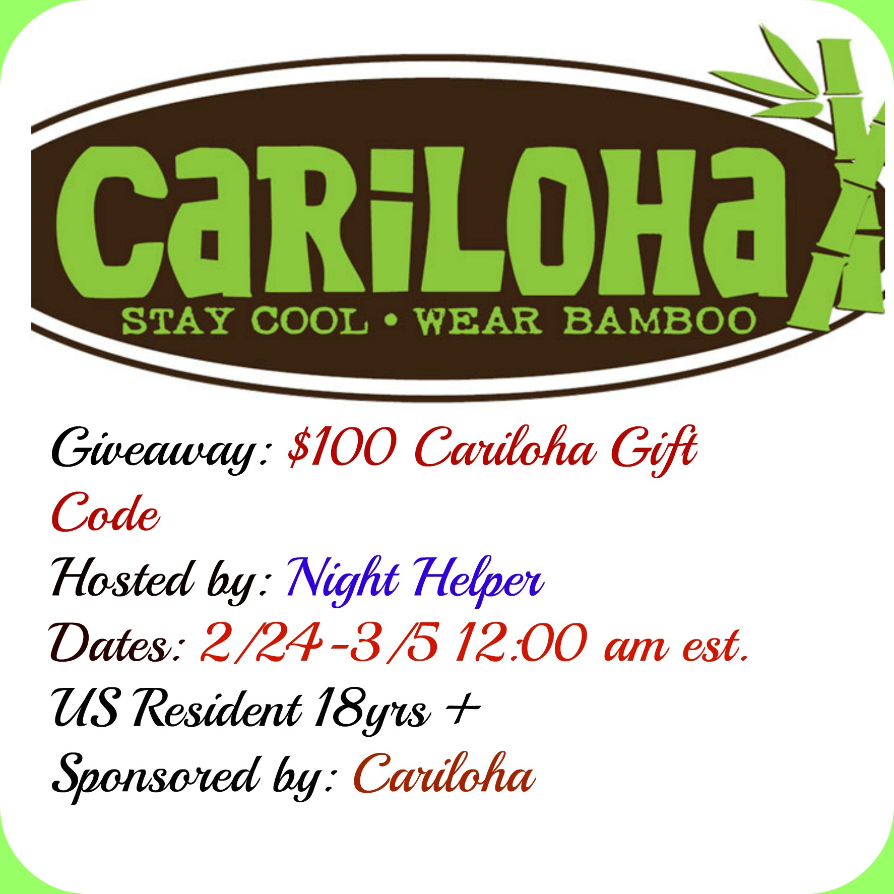 #100 Cariloha Gift Card Giveaway