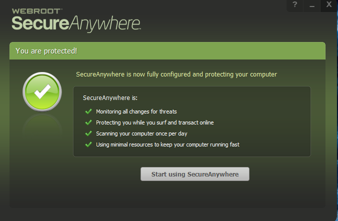 webroot secure anywhere showing what is covered