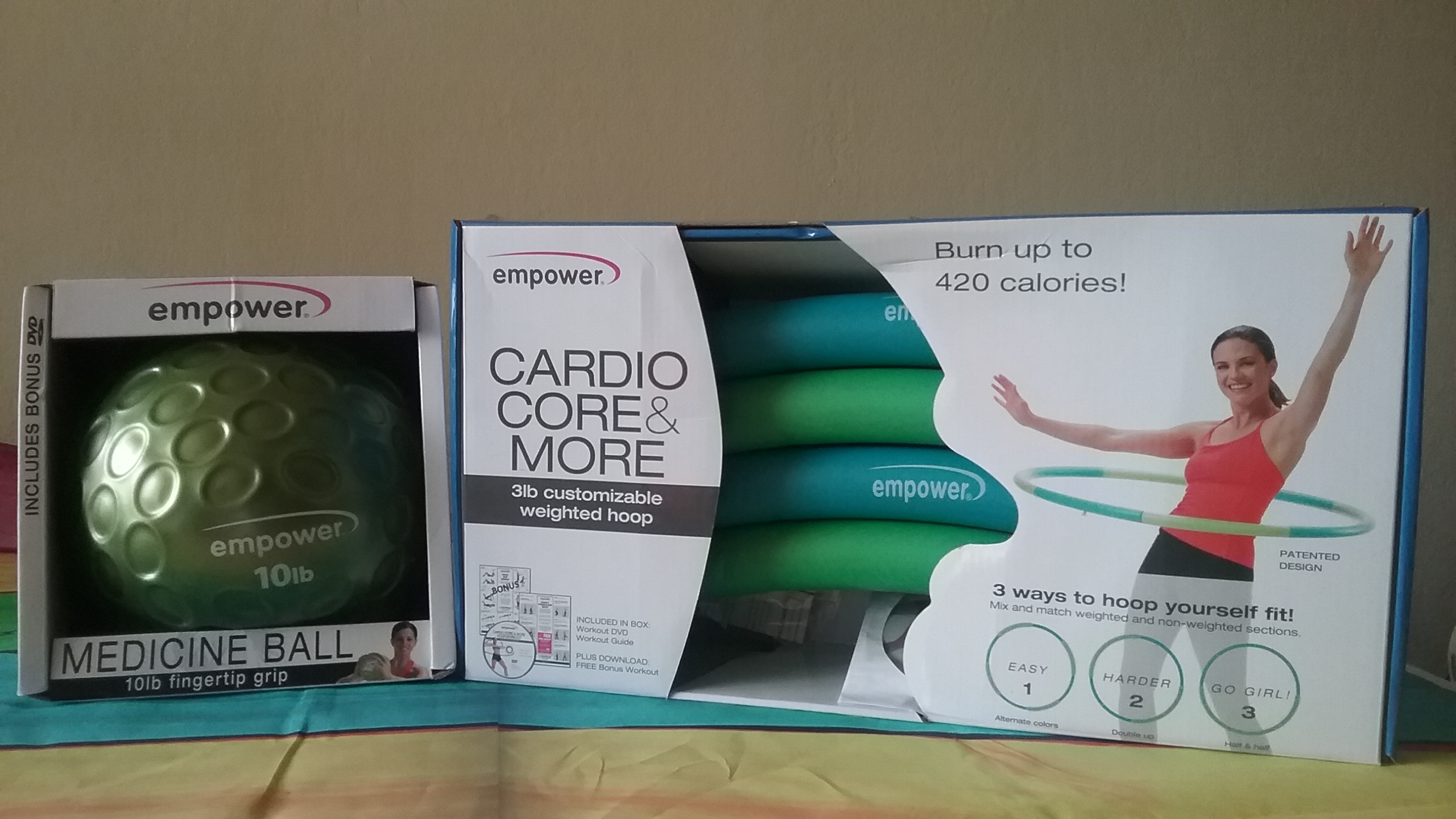 Kick Start Your Workout With EMPOWER Cardio Core Fitness Hoop & Fingertip Grip Medicine Ball