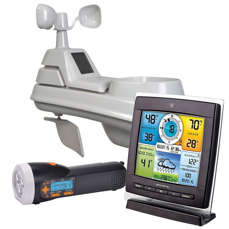 Prepare Your Home With ACU-RITE Pro 5-in-1 Weather Station with Wind, Rain & BONUS Weather Radio / Flashlight.