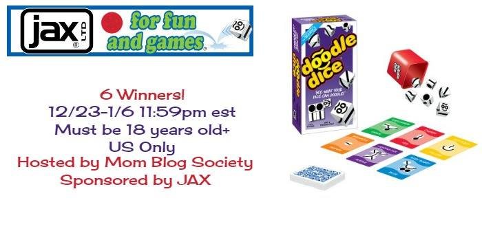 Welcome to the Doodle Dice Game giveaway. We appreciate that JAX is allowing Mom Blog Society to give away 6 of these games.