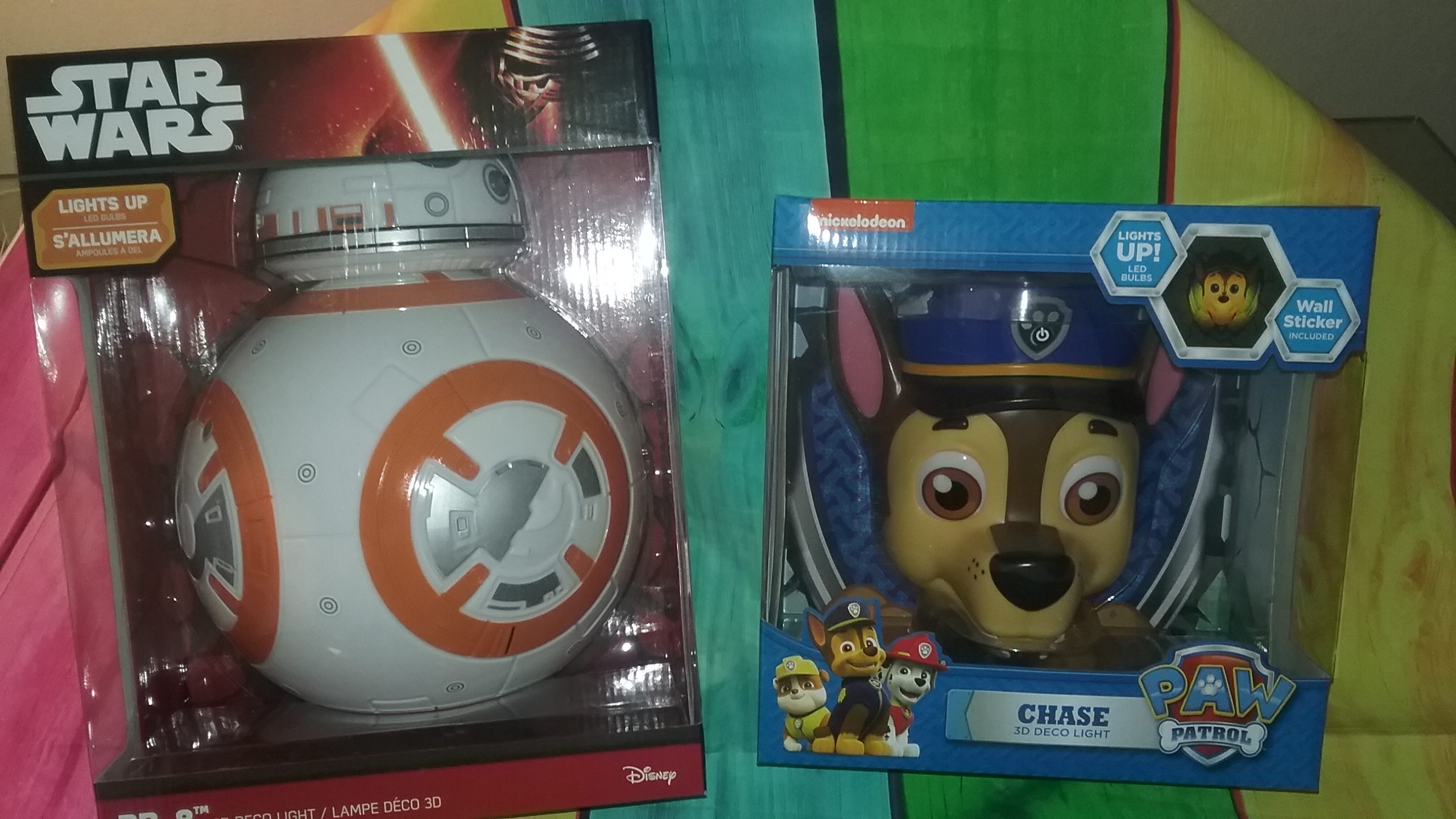3DLight FXLights, Paw Patrol Chase Nightlight & Star Wars BB-8 Droid. Jazz Up Your Kids Walls!
