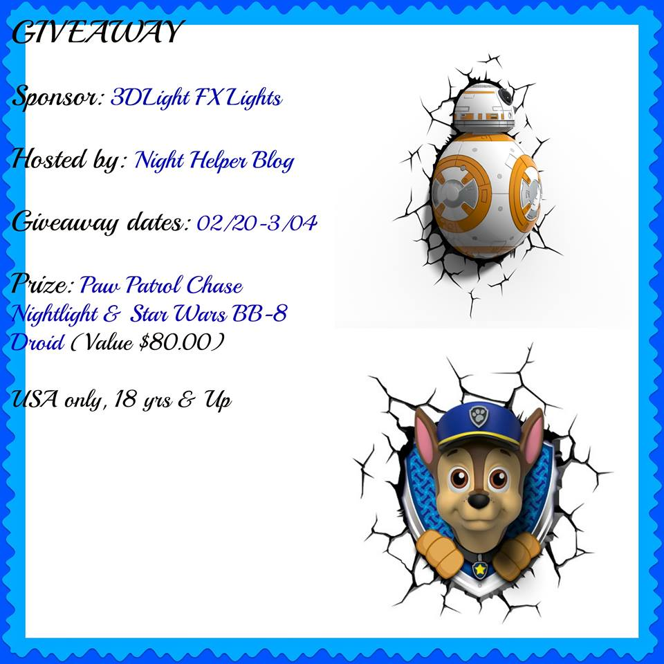 It's A 3DLight FX Paw Patrol Chase Nightlight Or Star Wars BB-8 Droid 3DLight FX Light Giveaway!