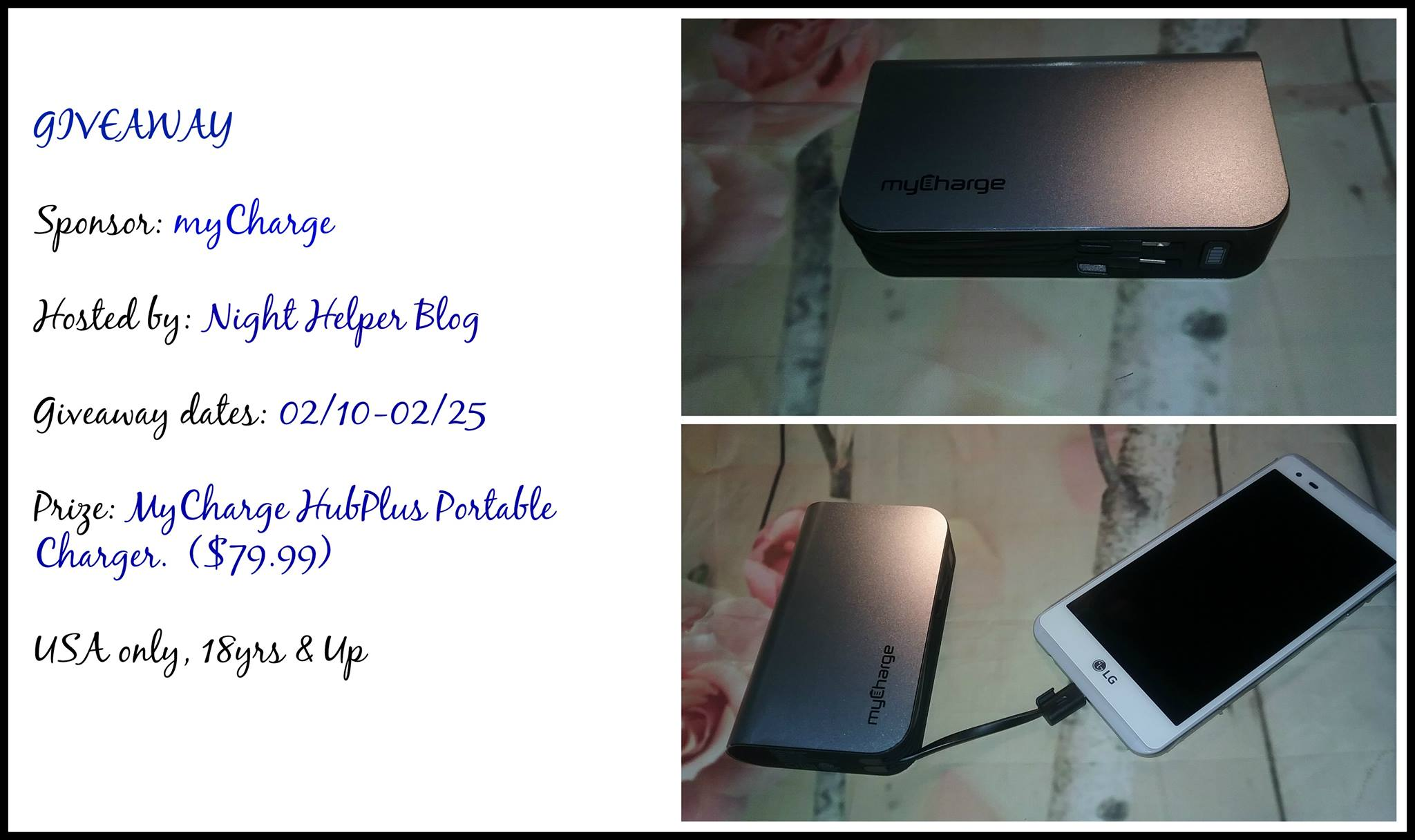 "Welcome to ""the myCharge HubPlus Portable Charger Giveaway""!"