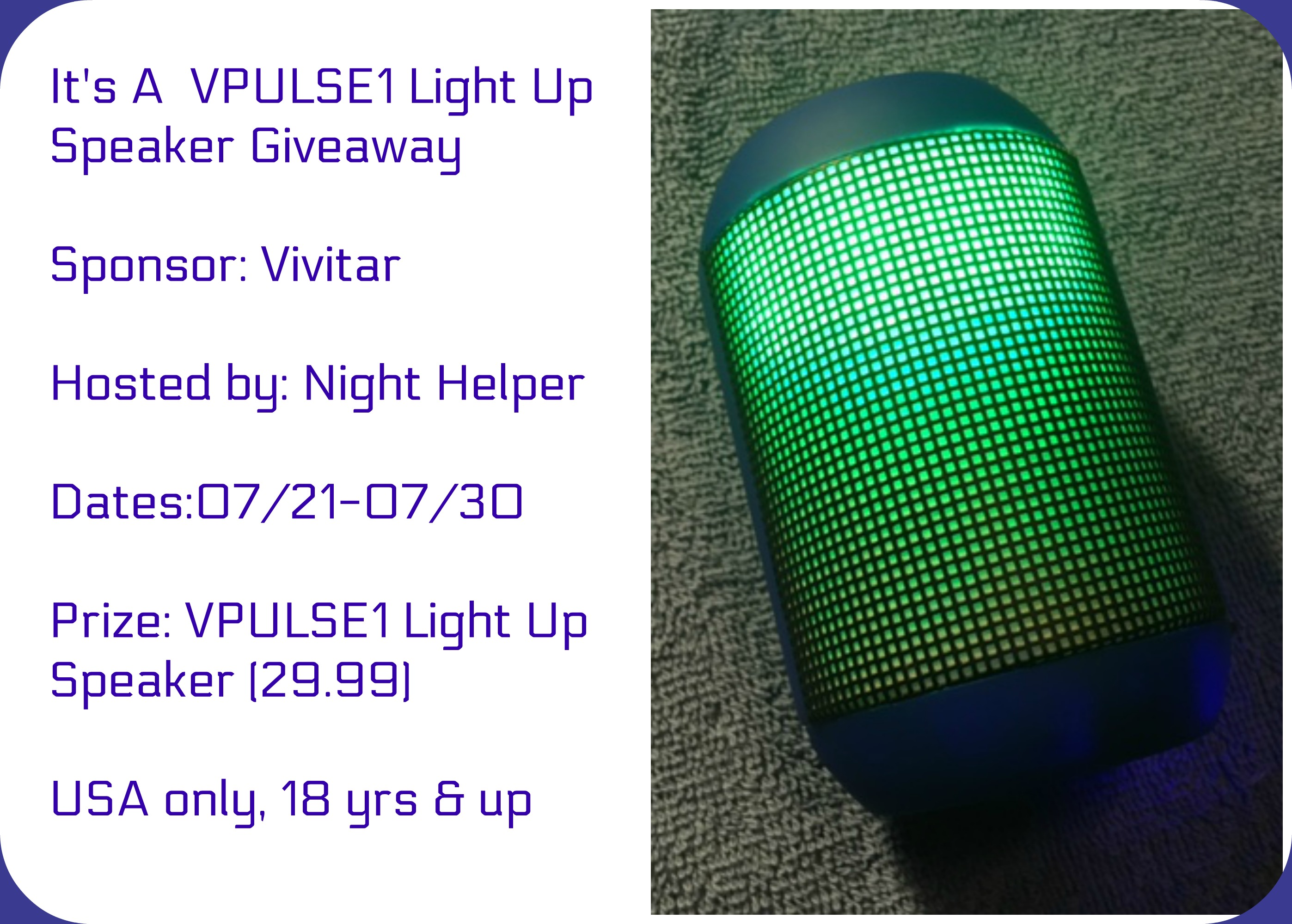 It's A VPULSE1 Light Up Speaker Giveaway