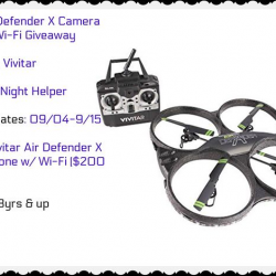 Win A Vivitar Air Defender X Camera Drone w/ Wi-Fi . Two WINNERS #Giveaway